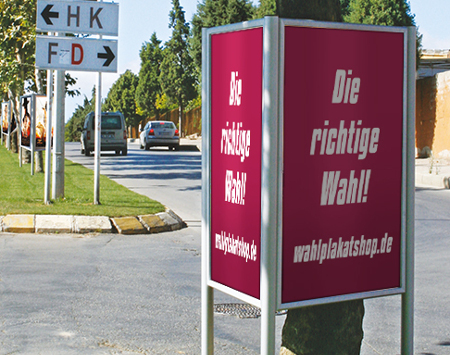 Dreieckständer mit Plakatrahmen - Plakatständer für den Wahlkampf