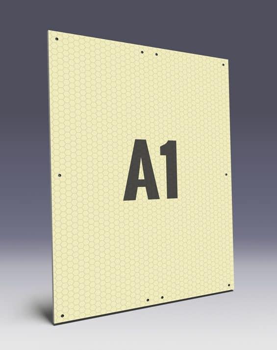 Wabenplakate aus Wabenplatten im A1 Format - Wabenstruktur stabilisiert das Kunststoffplakat