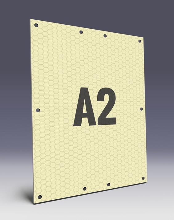 Wabenplakate aus Wabenplatten im A2 Format - Wabenstruktur stabilisiert das Kunststoffplakat